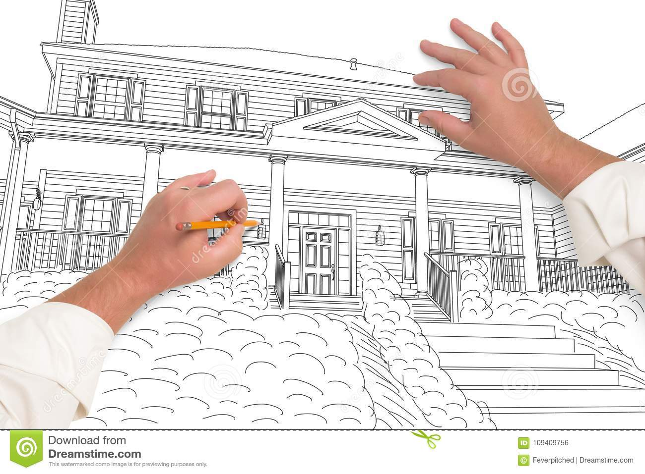 Male Hands Sketching with Pencil a Beautiful House
