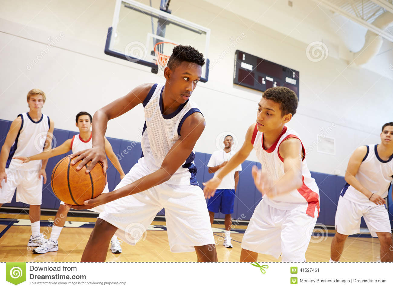 High school basketball team playing game stock photo image 41527461