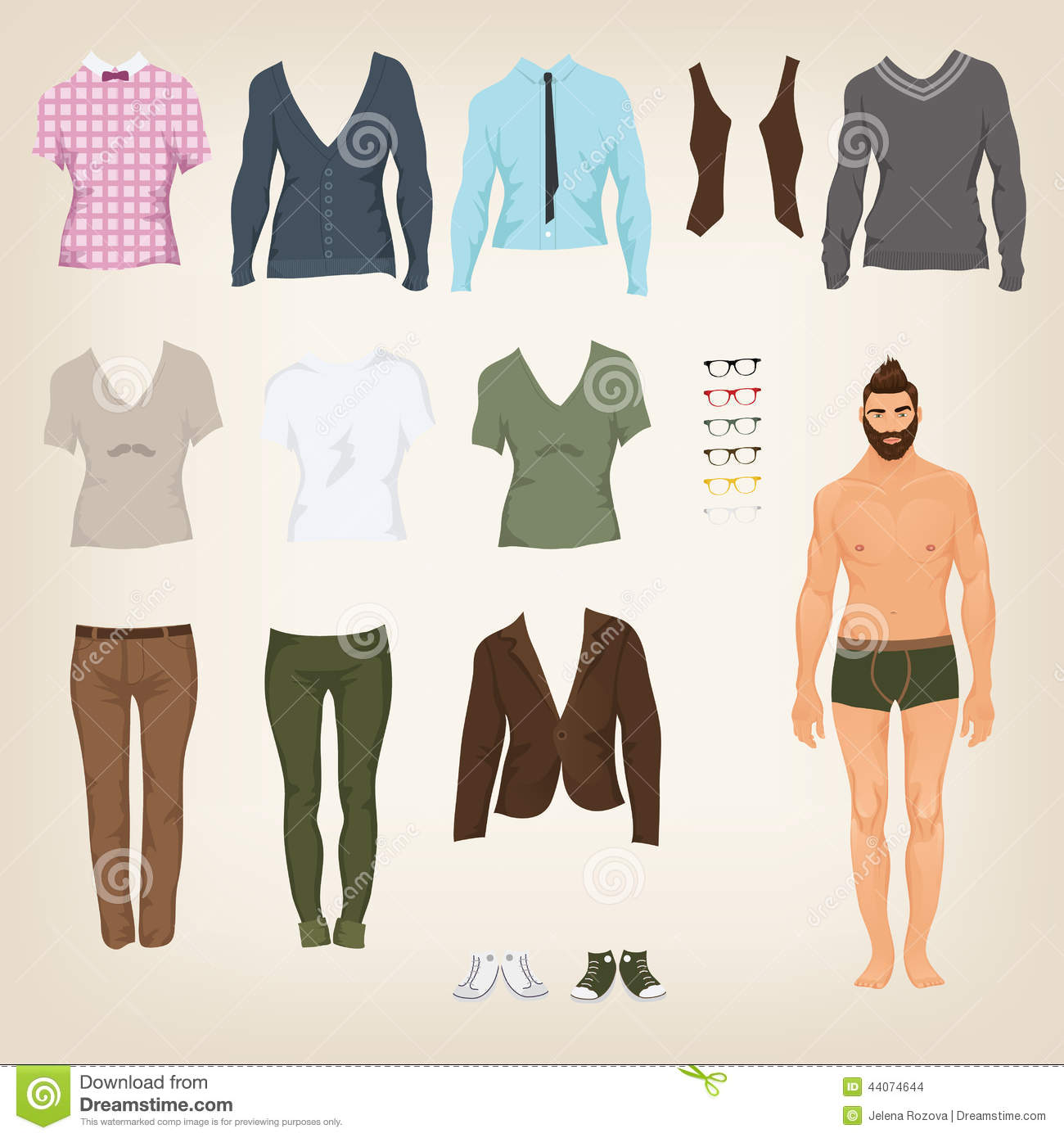 Hipster dress up paper doll with an assortment of clothes male hipster