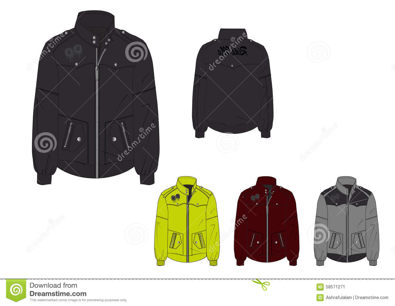 Male Hoodless Windbreaker With Waterproof Jacket Design Template ...