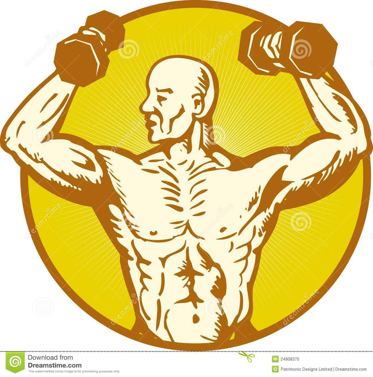 Male Human Anatomy Body Builder Flexing Muscle Stock Vector