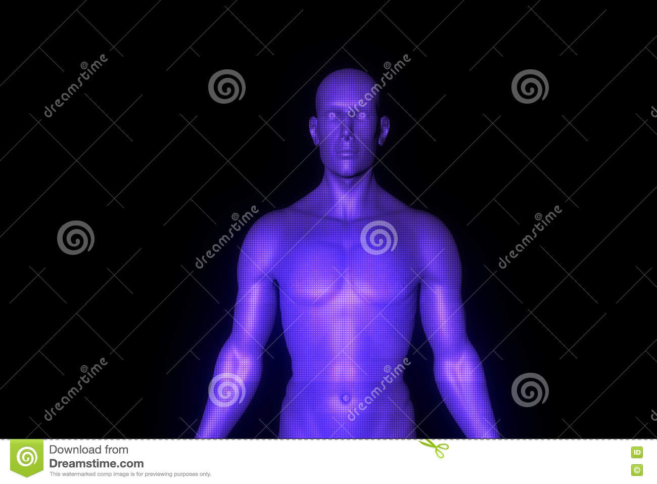 Male Human 3D Wireframe Hologram In Motion  Nice 3D