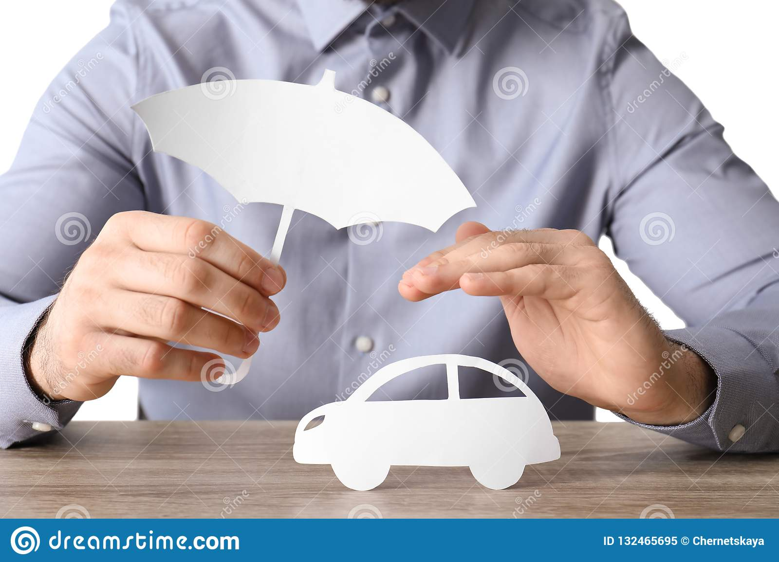 Male Insurance Agent Covering Paper Car Stock Image ...