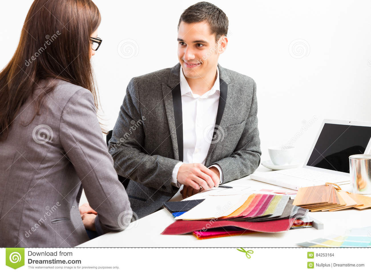 Male Interior Designer With Client Stock Photo - Image of ...