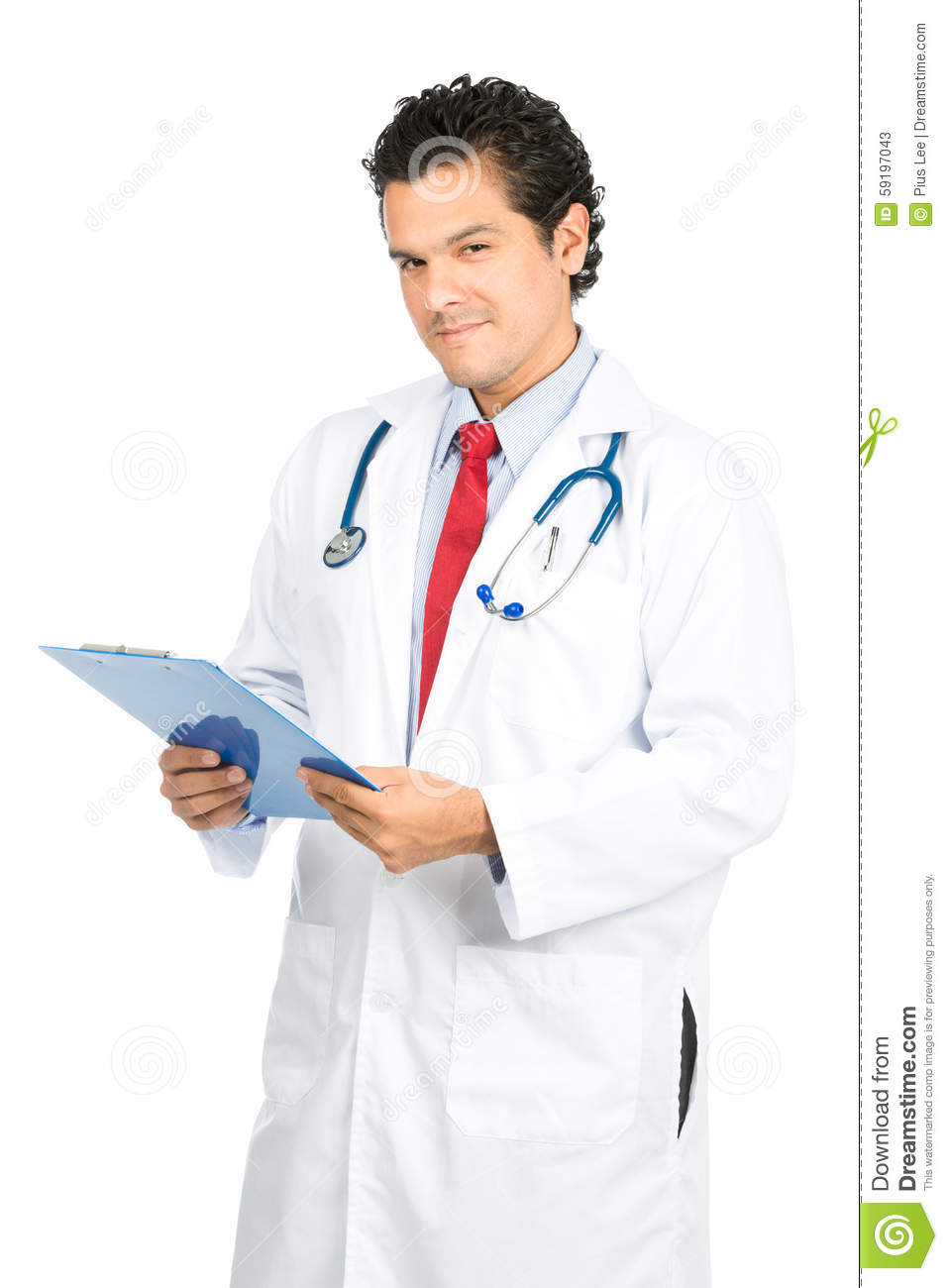 White apron doctors - Male Latino Doctor Head Tilted Compassionate At