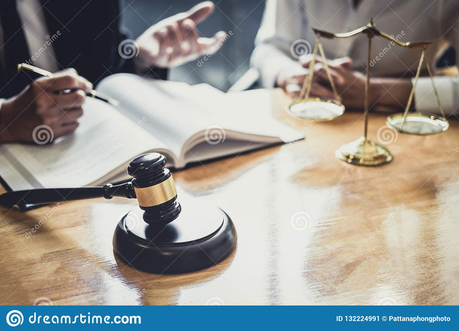 Male lawyer or Counselor working in courtroom have meeting with