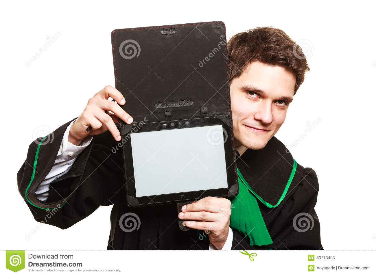 Male Lawyer Hold Tablet Computer In Open Case. Stock Photo
