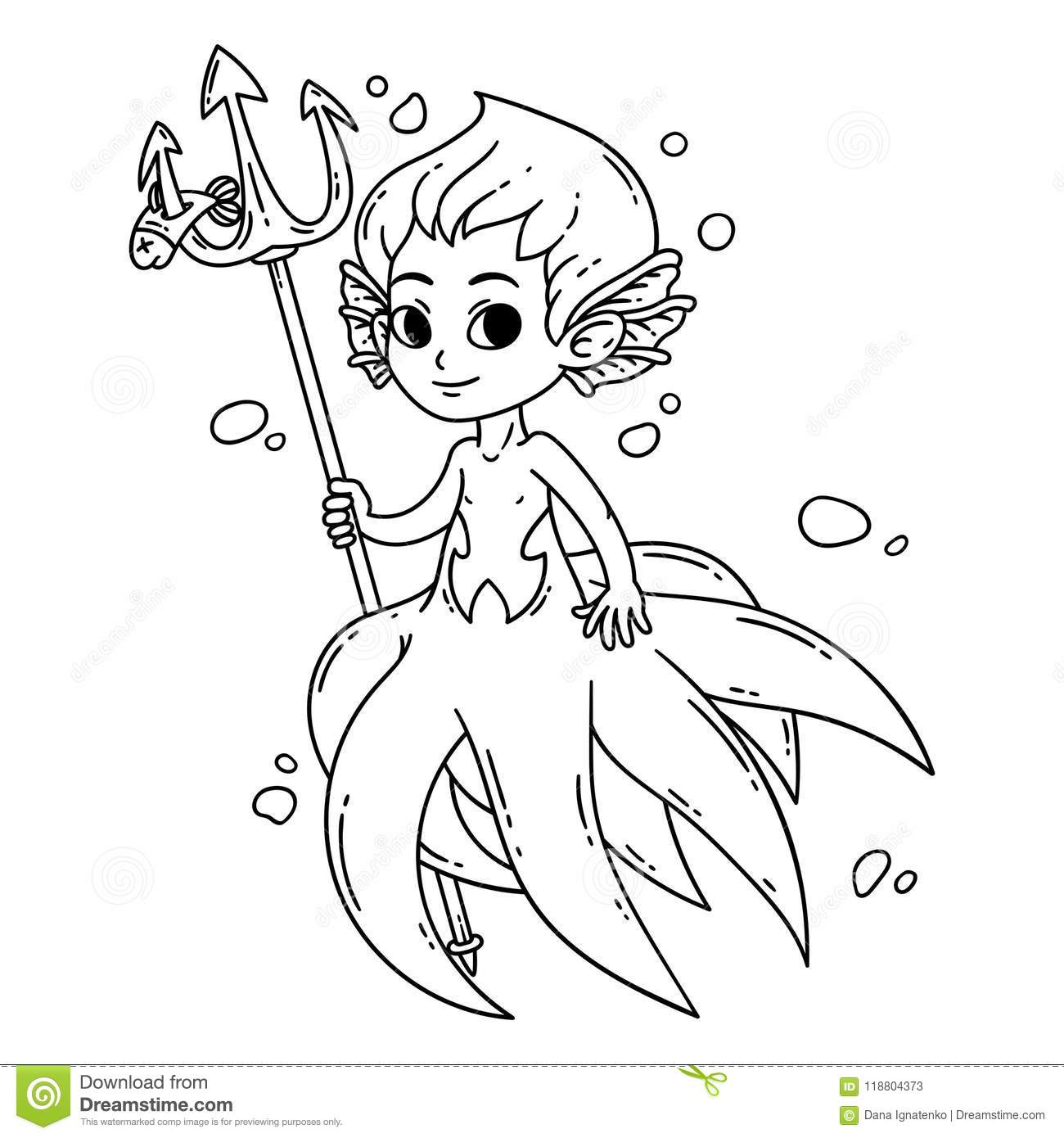 mermaidman and barnacle boy coloring pages   Male Mermaid. Vector Illustration. Coloring Page. Stock ...