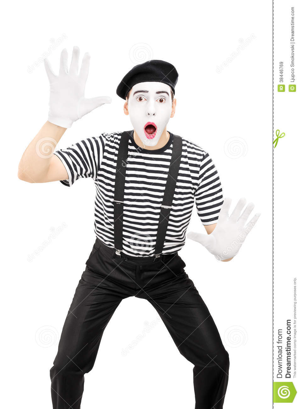 Male Mime Artist Performing Isolated On White Background Royalty Free ...