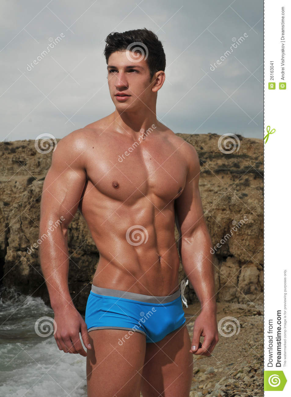 Male Model On The Beach Stock Image - Image: 26163041