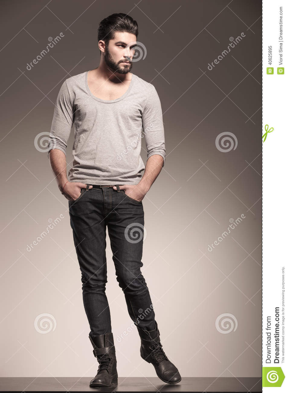 Male Model With Beard In A Fashion Pose Stock Photo