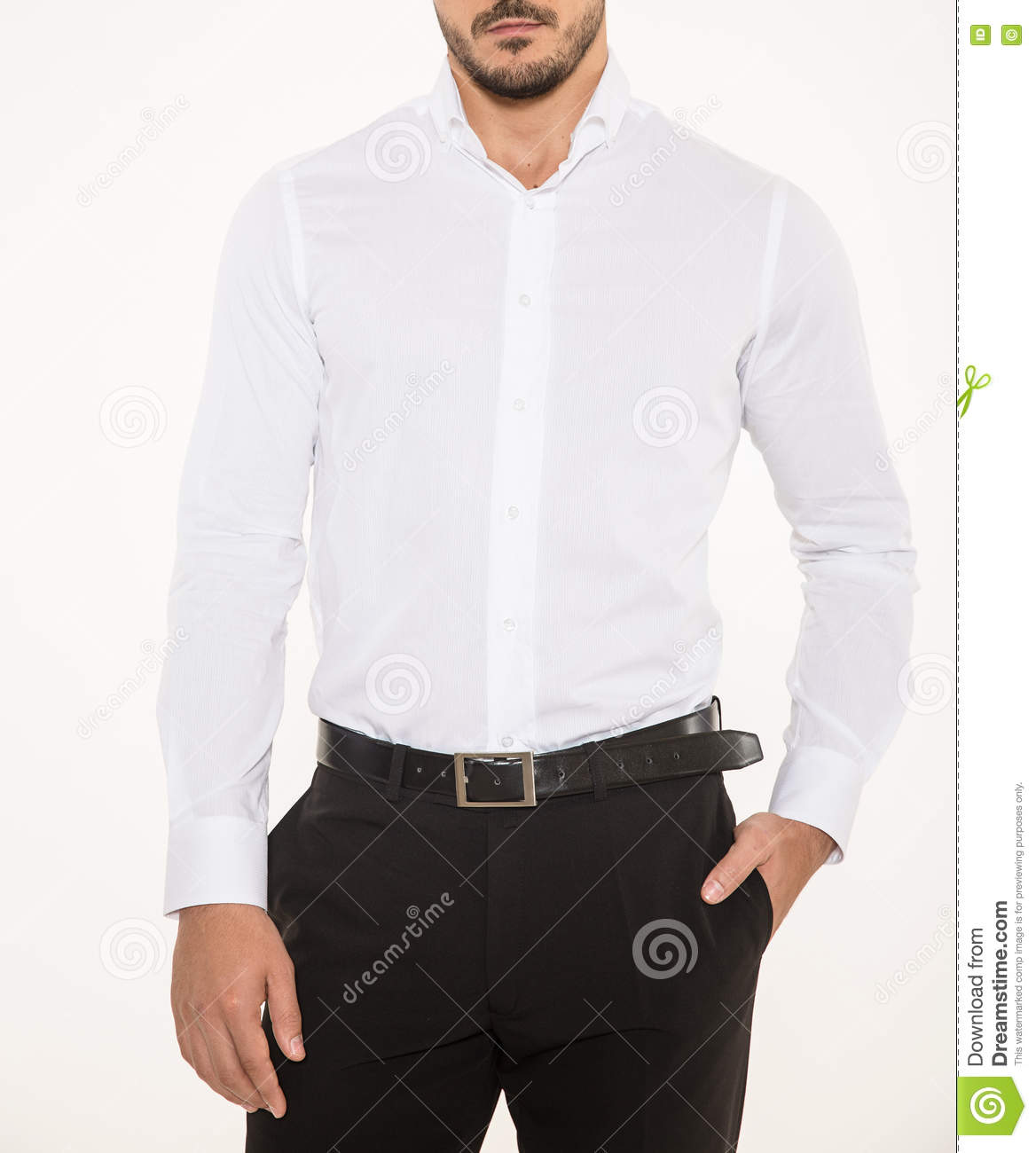 Male Model With Elegant Black Pants, Belt And White Shirt Stock ...