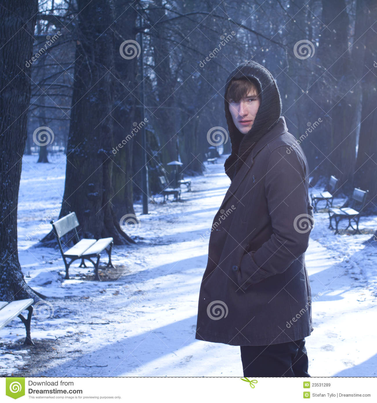 male model looking back  in a cold winter scenery  stock image
