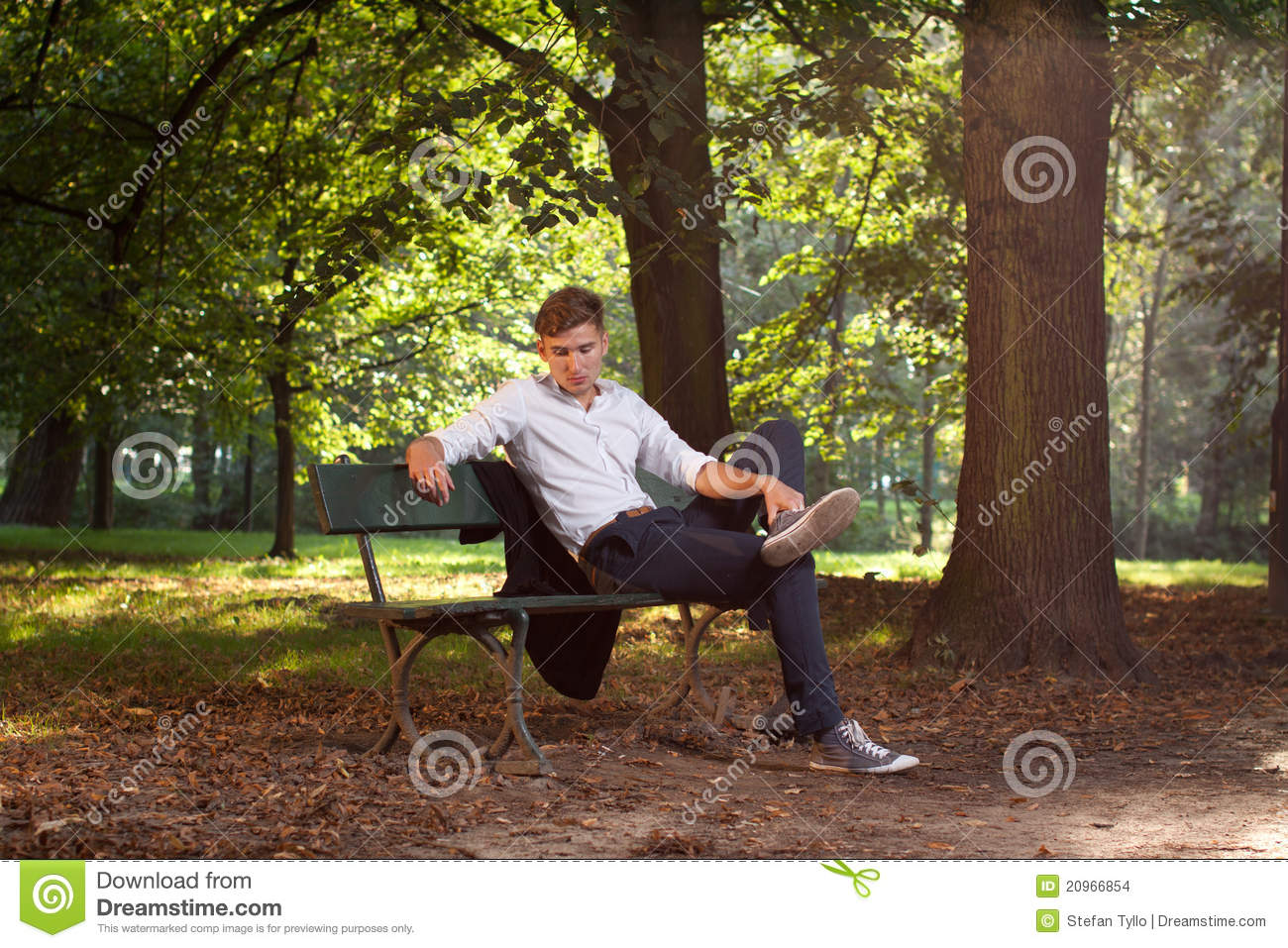 Male Model Sitting On A Bench Stock Photo Image 20966854