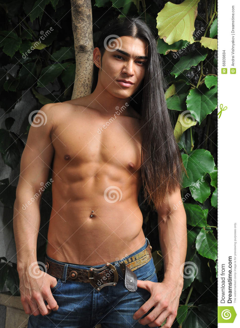 Male Model In Tropical Greenhouse Stock Photo Image Of