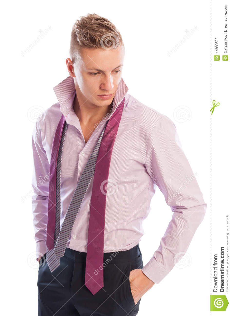 Male Model Wearing Black Pants, Purple Shirt And Two ...