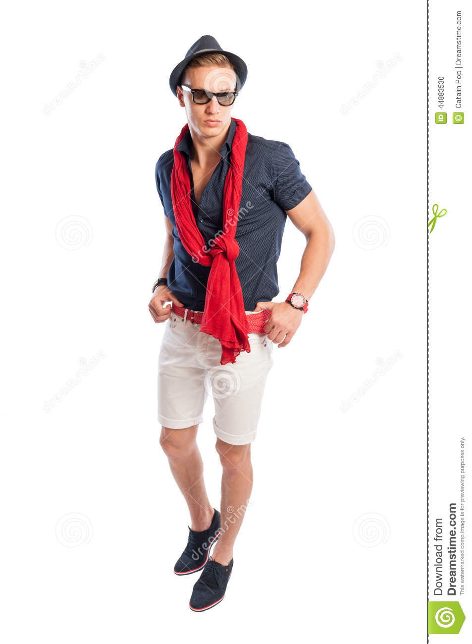 Male Model Wearing Fancy But Casual Summer Clothes Stock ...