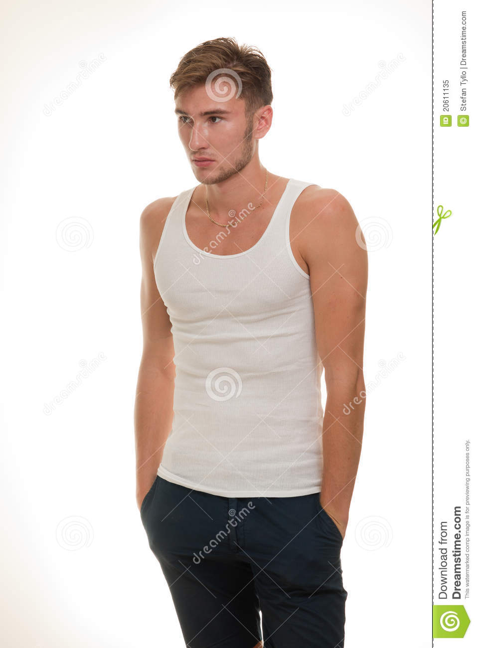 Male Model In White T-shirt Stock Image - Image of blond ...