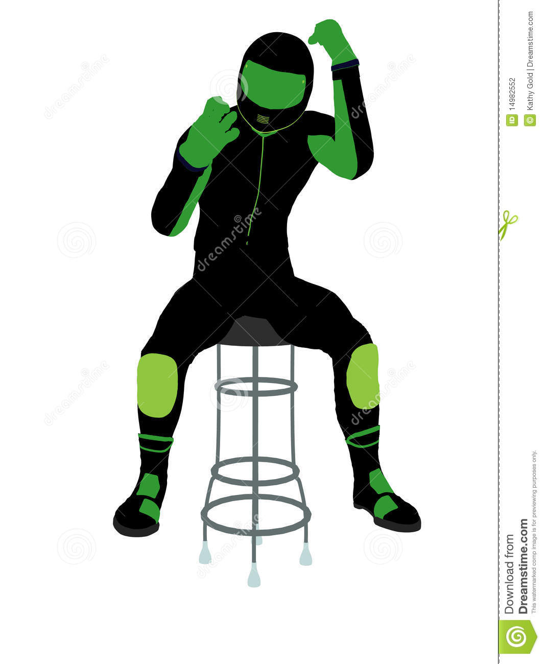 Male Motorcycle Rider On A Barstool Silhouette Stock ...