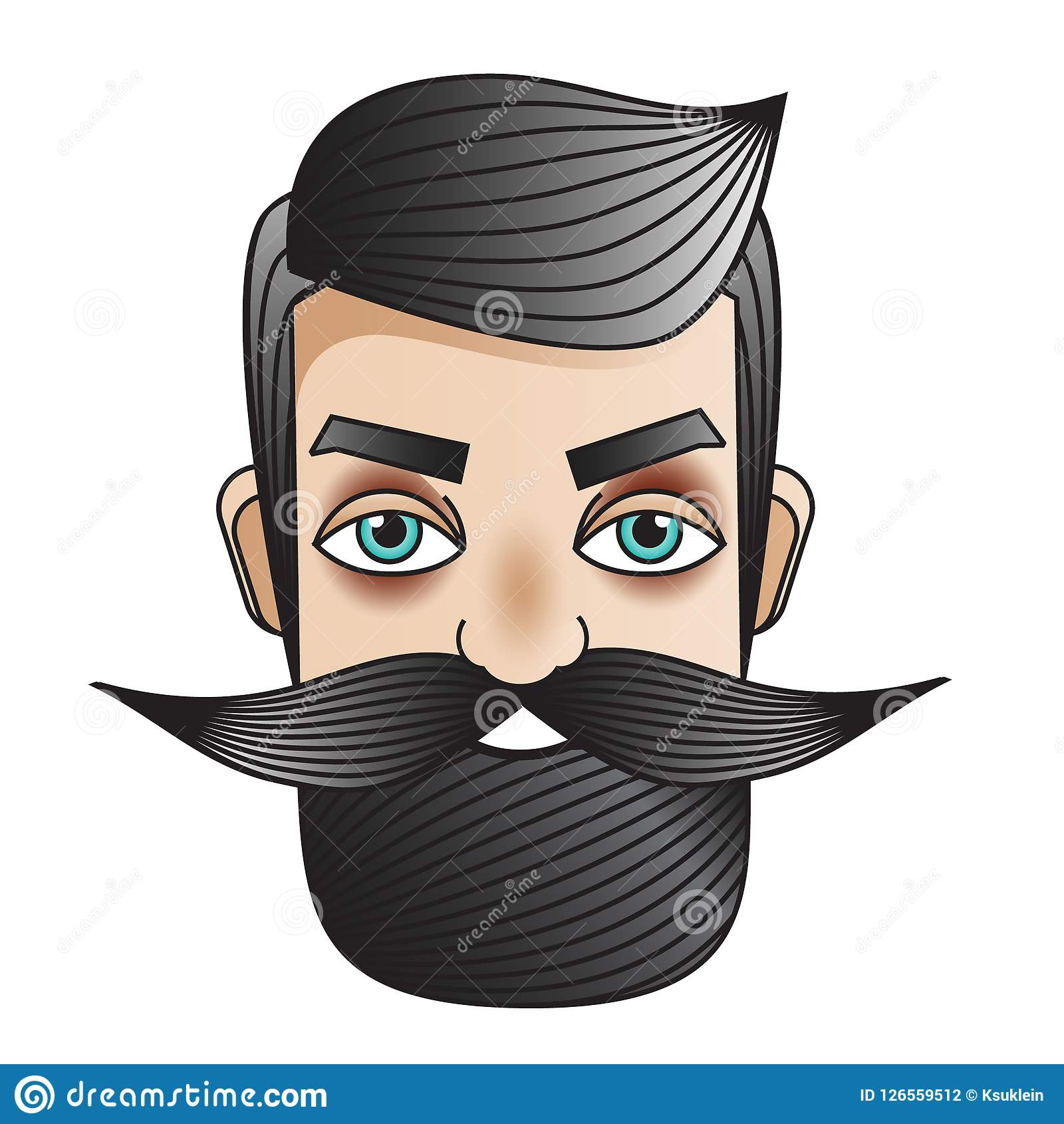 Male with moustache man face badge sticker in vintage tattoo style