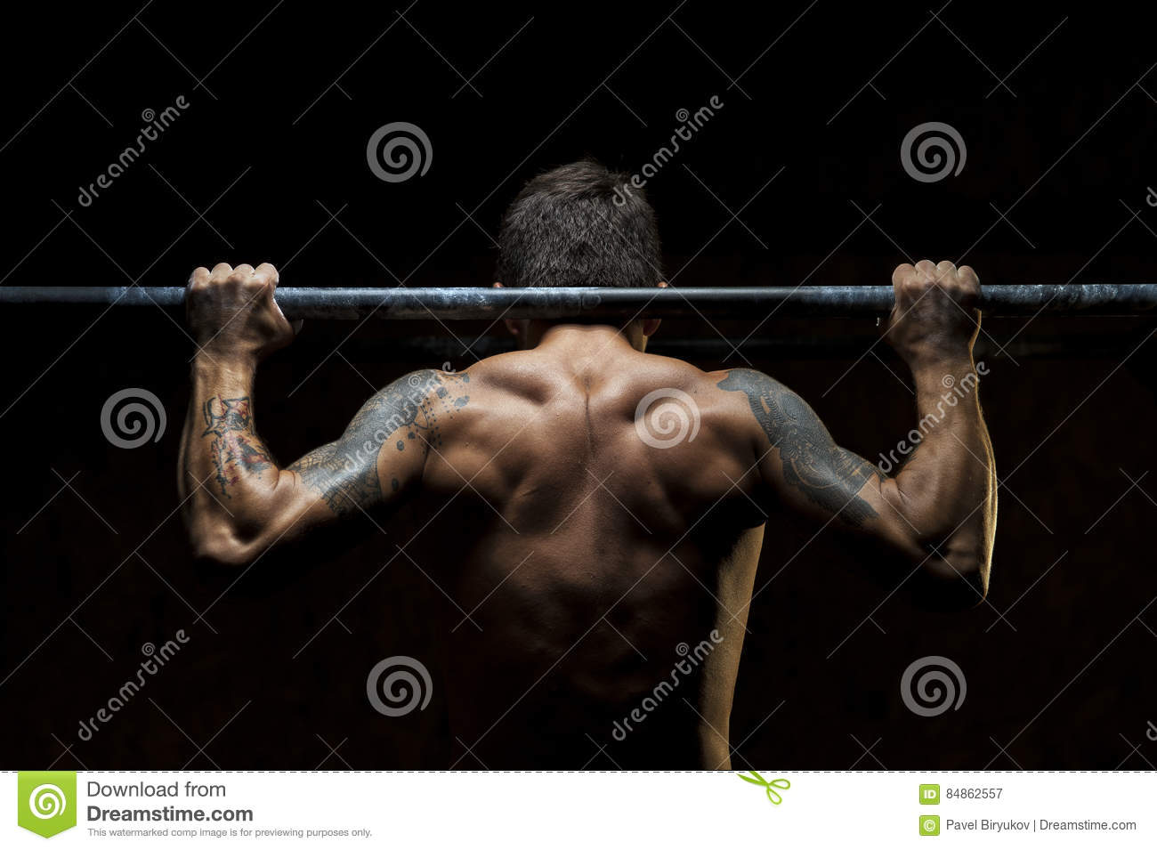 Male Muscular Athlete Doing Pull Up Exercise Stock Image - Image of