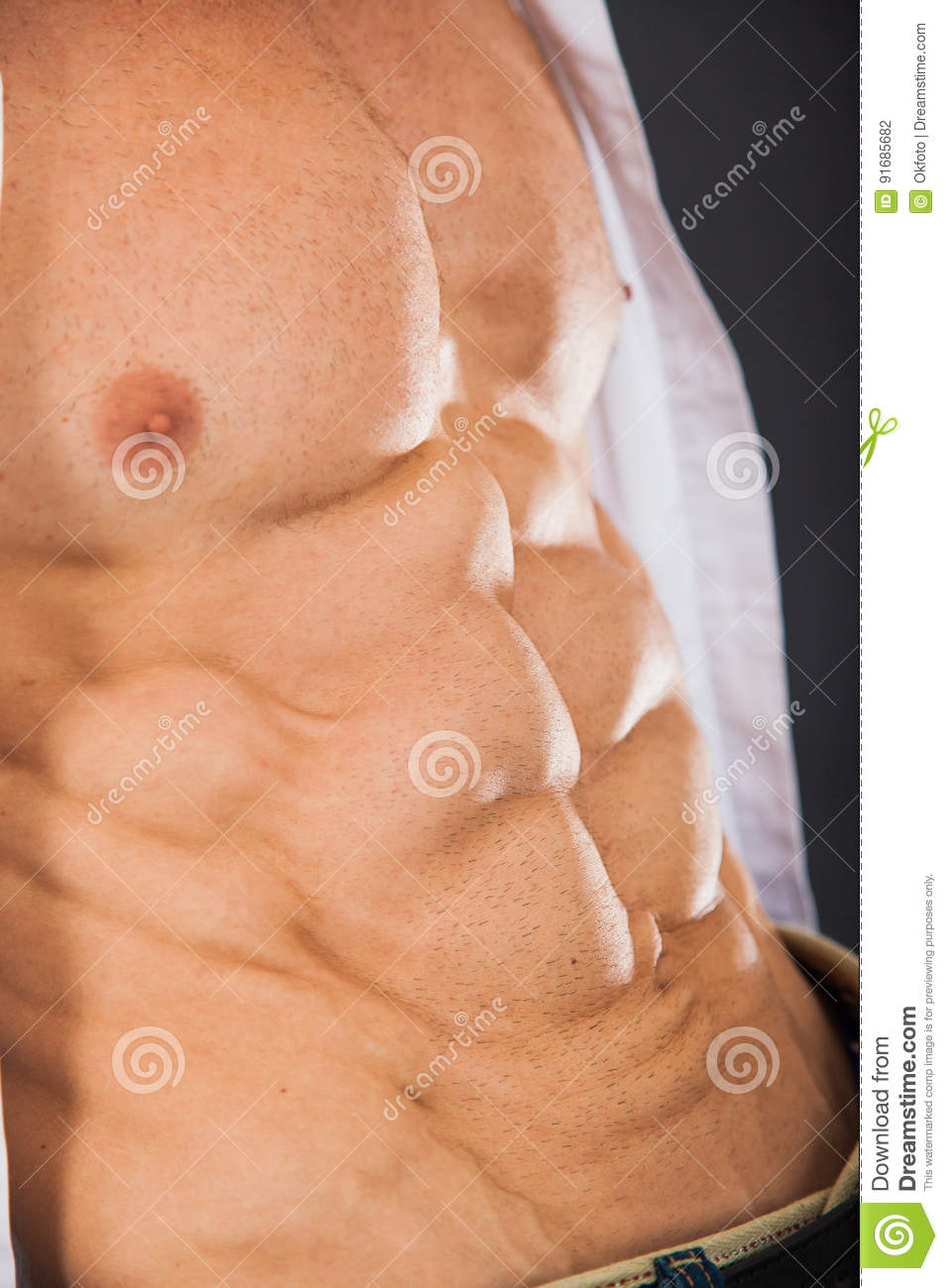 Male Muscular Torso With Six Pack Abs Stock Photo Image Of