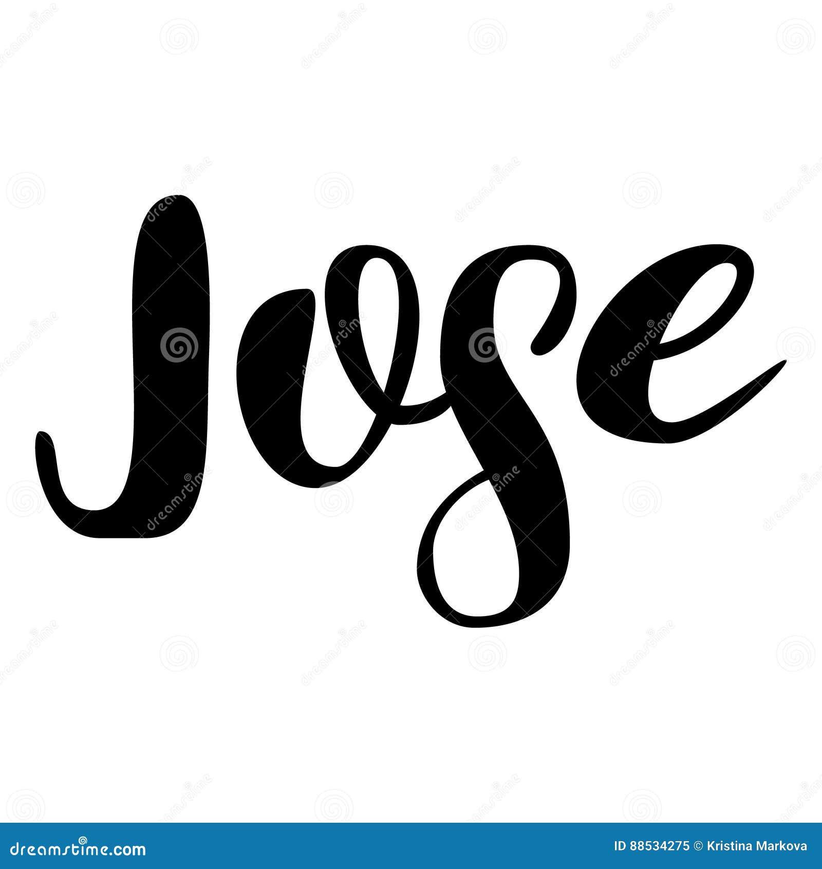 male name jose lettering design handwritten typography