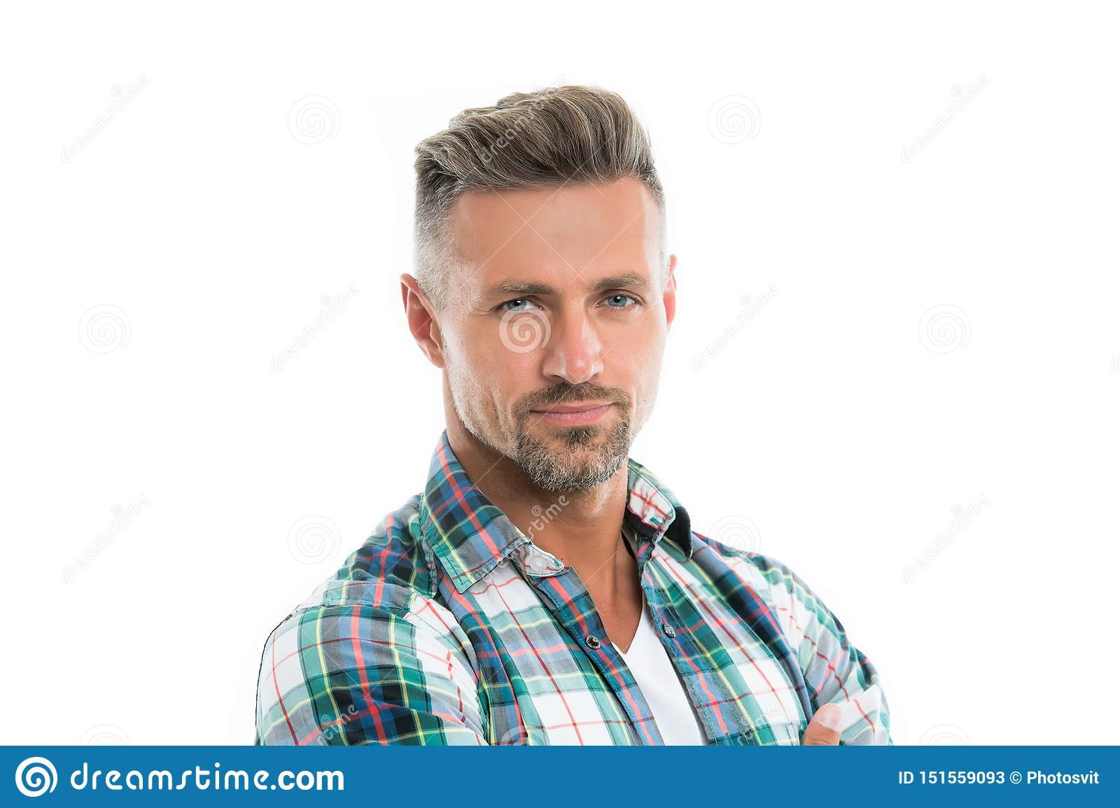Male natural beauty. Deal with gray roots. Man attractive well groomed facial hair. Barber shop concept. Grizzle hair