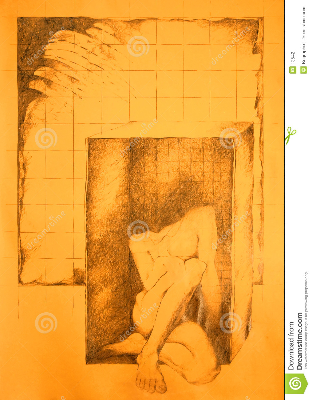 Male nude trapped in a box