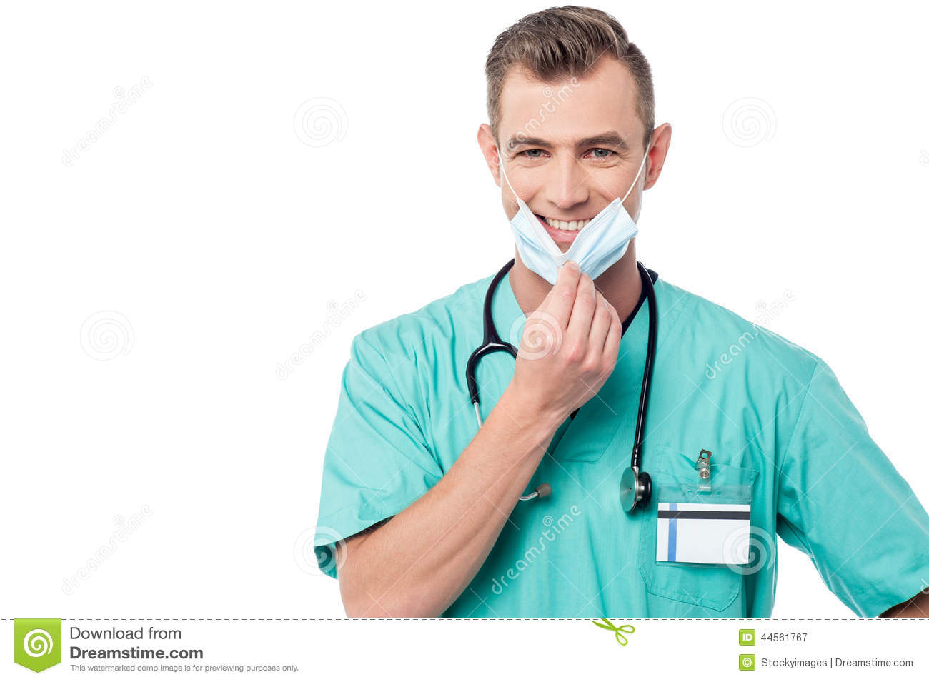 Image Surgeon Smiling Of With Mask Stock Nurse - Male