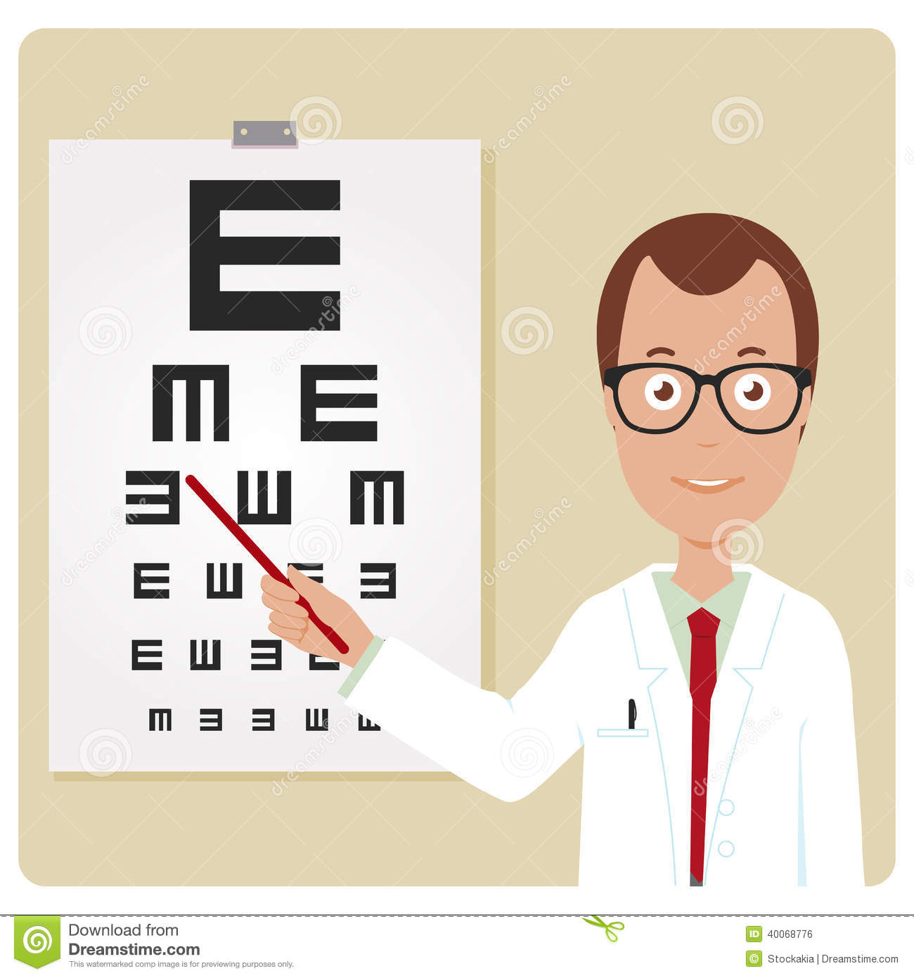 An ophthalmologist examining a patient using the tumbling e eye chart.