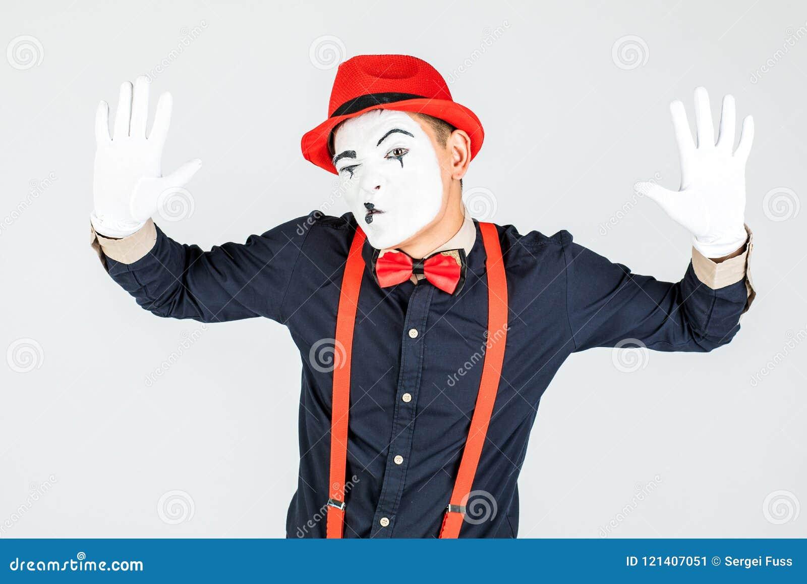 Male pantomime actor fun performing actor, pantomime, posing at