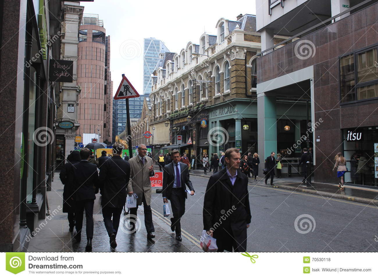 Modern Architecture London England male pedestrians in downtown london, people in the street, modern