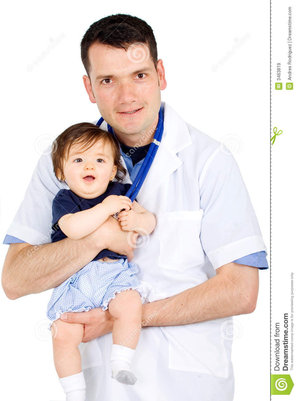 Male pediatrician and a baby girl where both are smiling and isolated ...