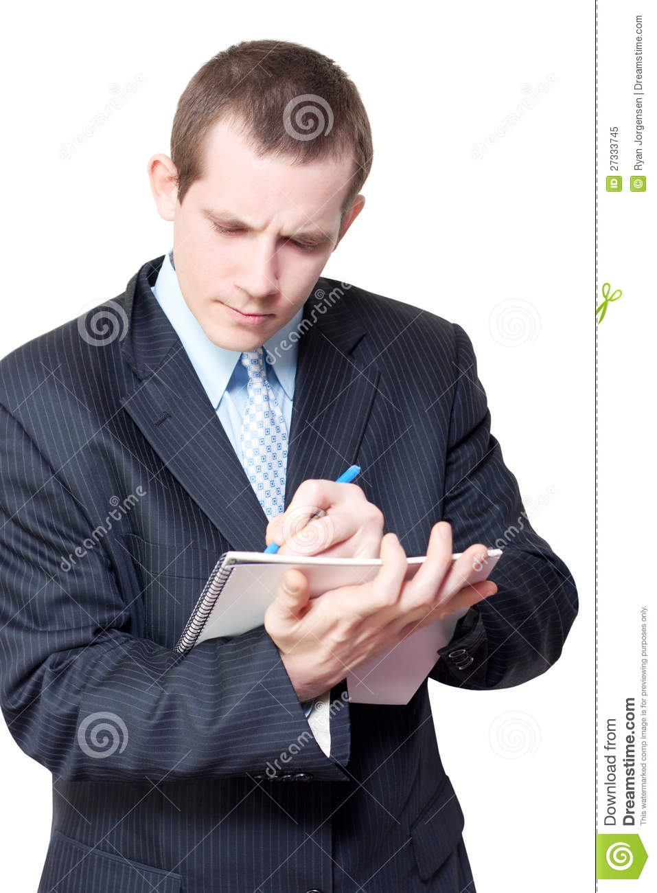male personal assistant setting appointments stock image
