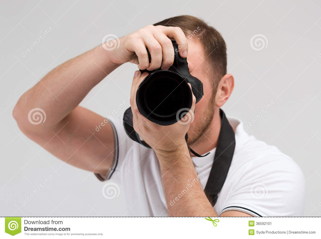 ... people concept - male photographer taking picture with digital camera