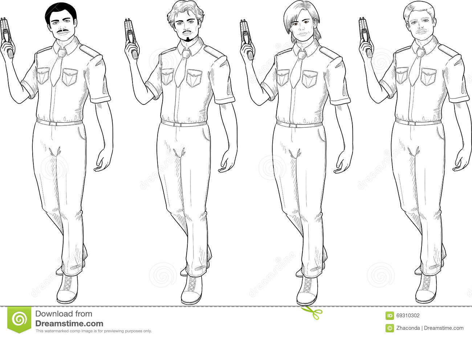 male police officer holds taser stock vector image 69310302
