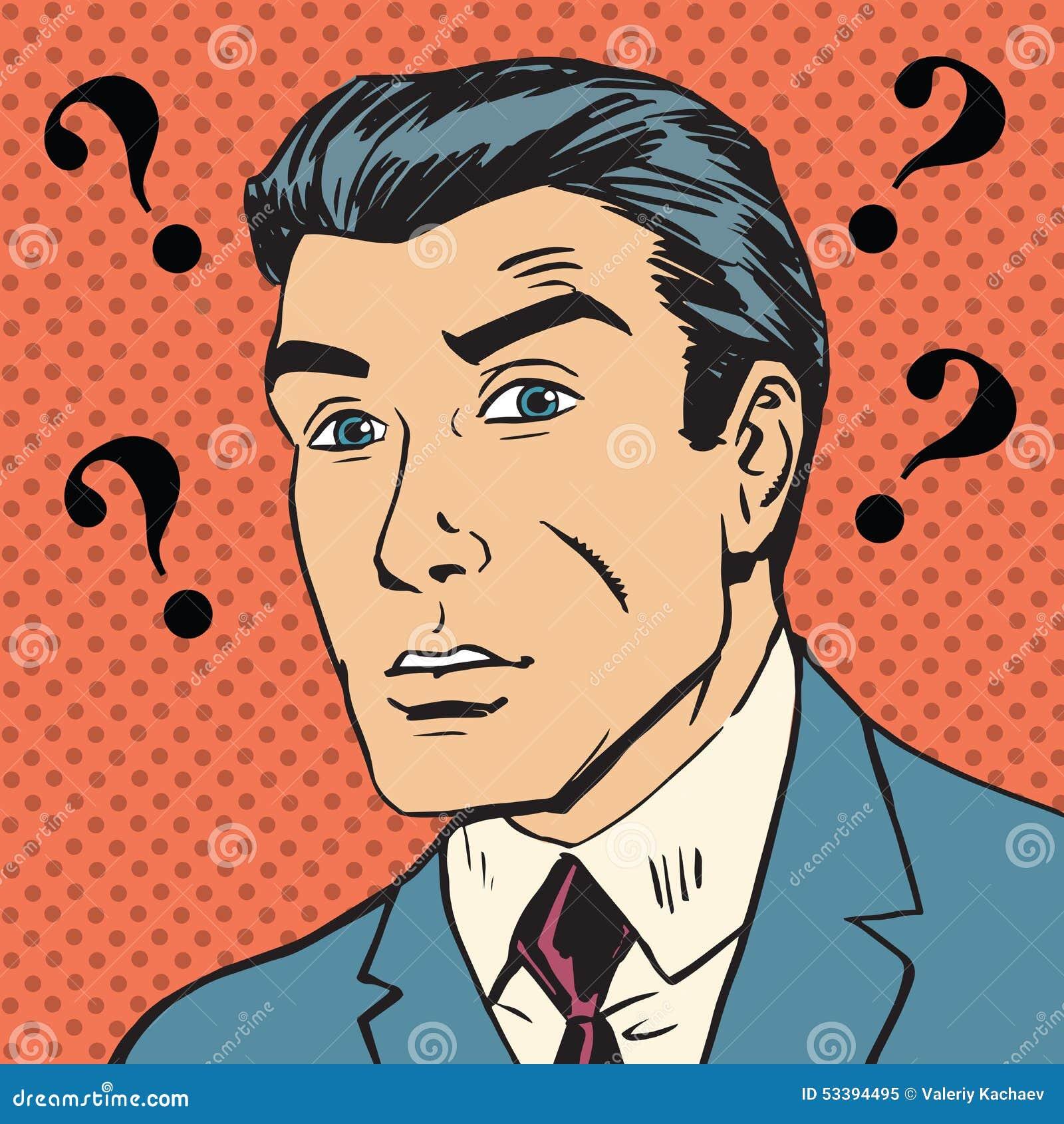 Male Question Marks Misunderstanding Enigma Men Pop Art ...