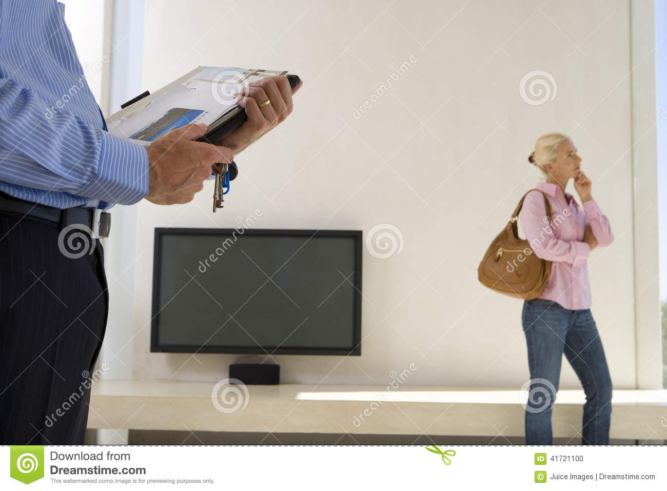 Male real estate agent and mature woman standing in living room, television in background