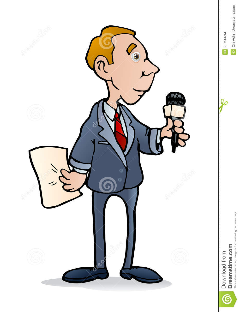 Illustration Of A Young Male Journalist Holding Microphone Reporting The News On White Background