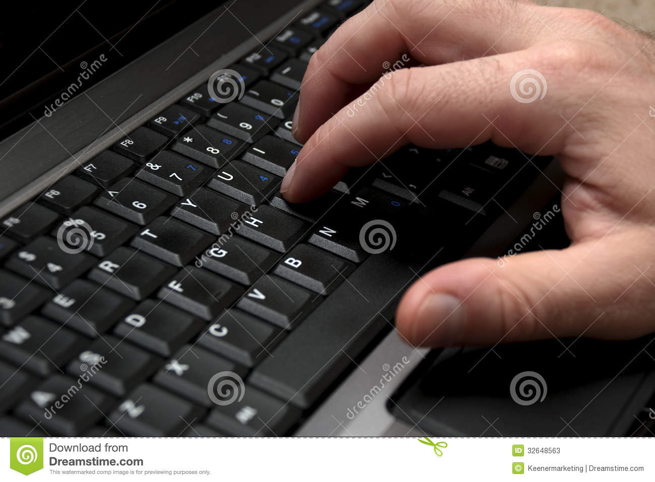 male right hand typing on laptop computer keyboard stock photos image 32648563. Black Bedroom Furniture Sets. Home Design Ideas