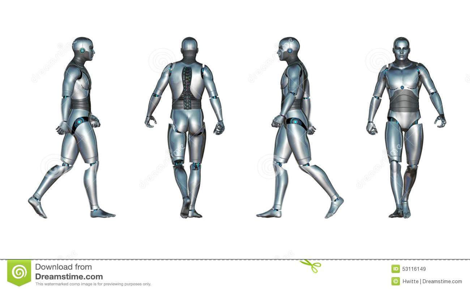 Male Robot Walk Loop stock video. Illustration of technology - 53116149