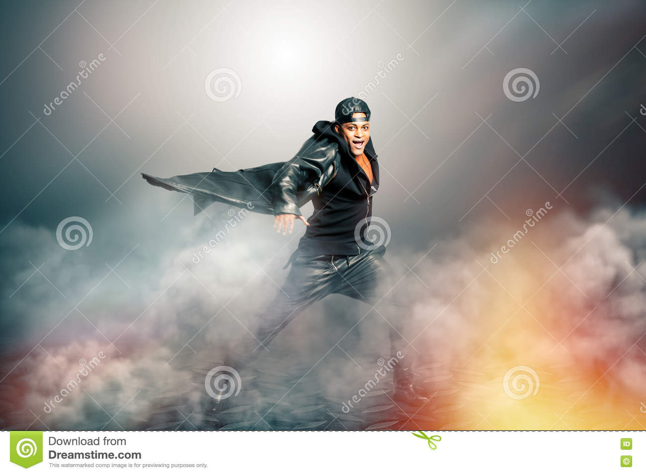 Male Rock Singer With Cape In Mysterious Scenery With ...