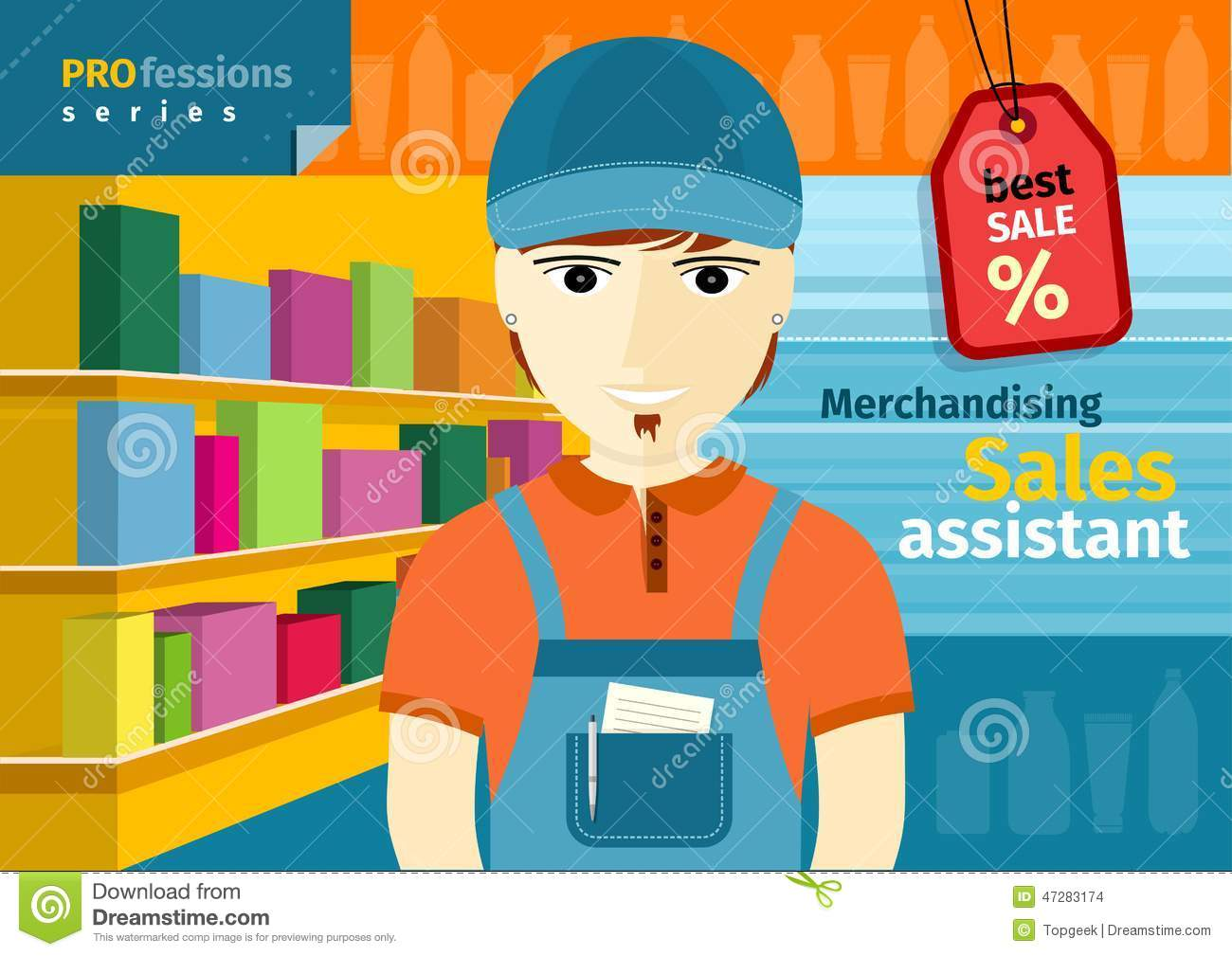 male s assistant in uniform on his workplace stock vector male s assistant in uniform on his workplace