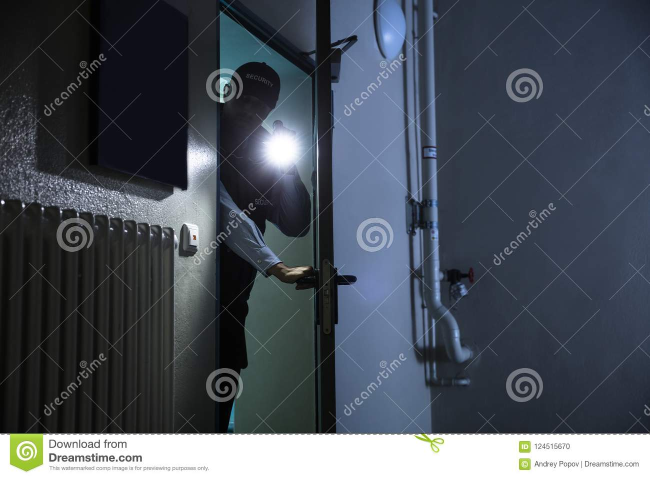 Male Security Guard Searching With Flashlight
