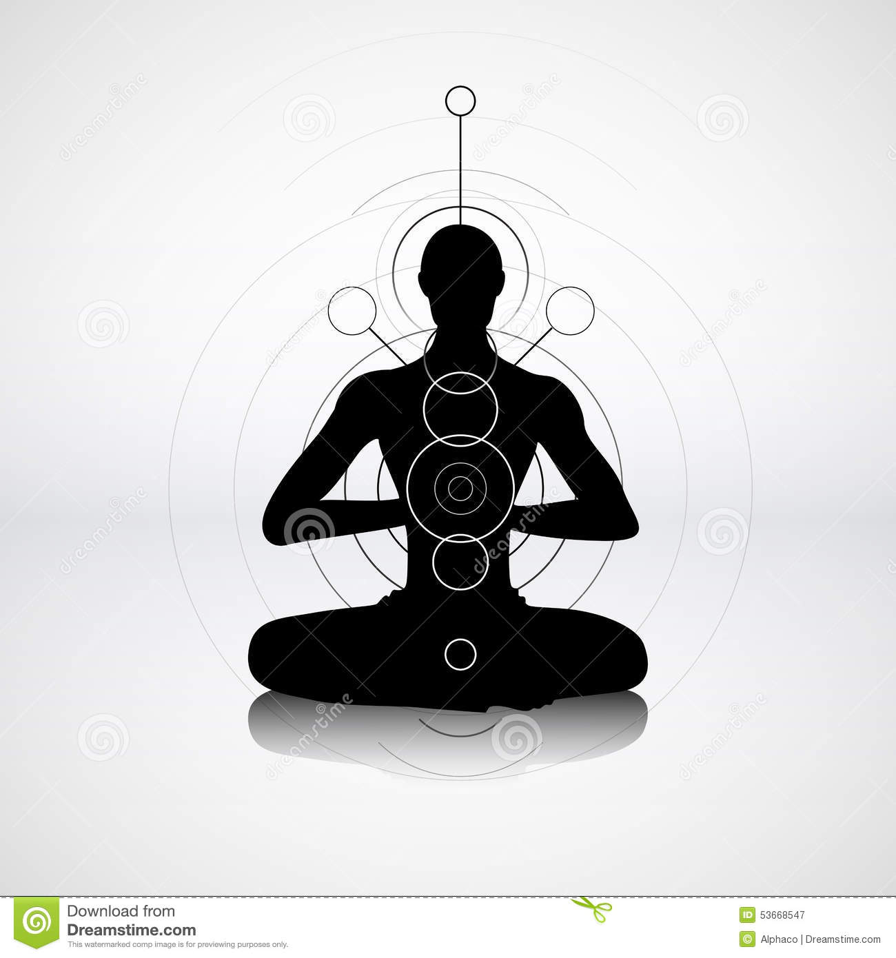 Male Silhouette In Yoga Pose Cartoon Vector