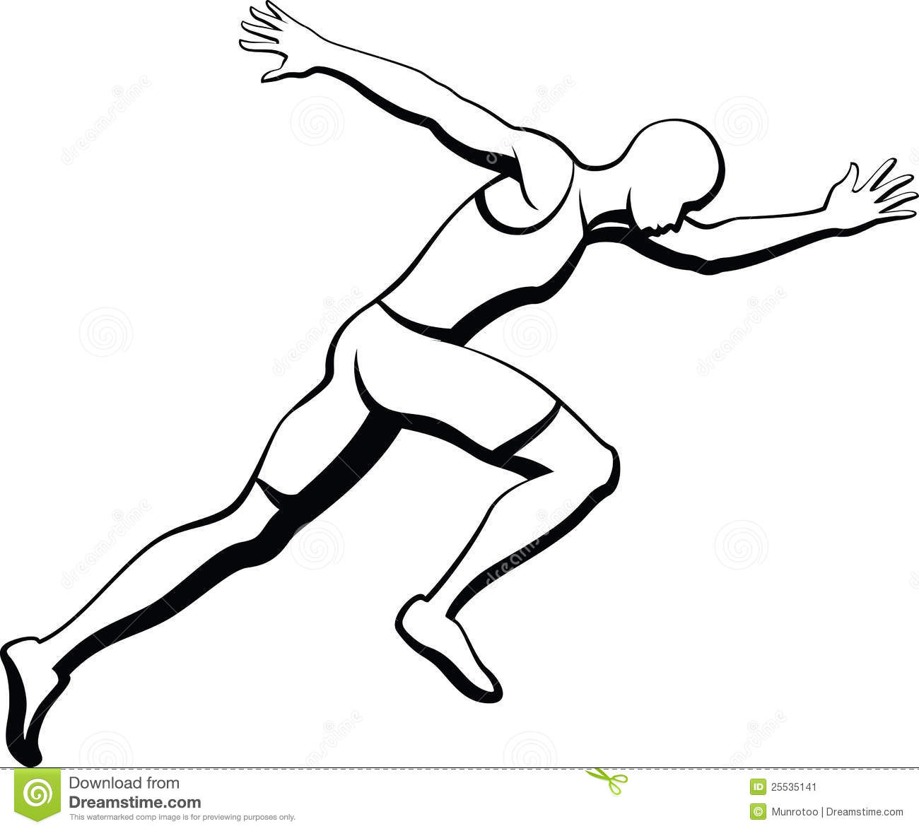 Black and White vector illustration of a man sprinting. There is a ...
