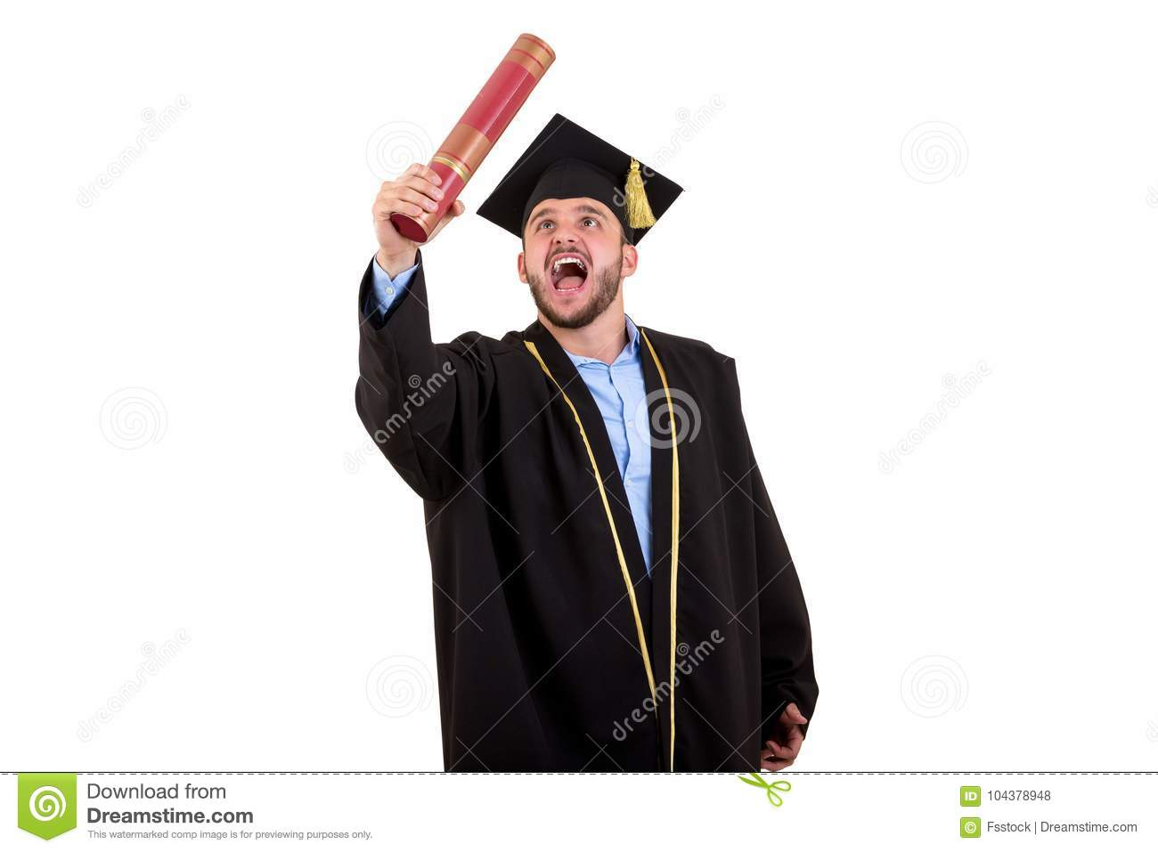 Male Student In Graduation Gown Gesturing With Hands Isolated On ...