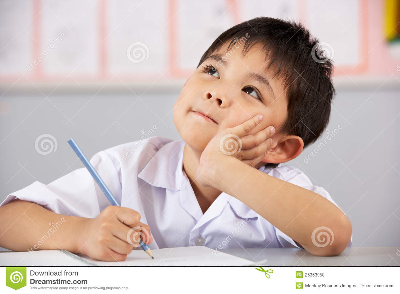... At Desk In Chinese School Royalty Free Stock Photos - Image: 26363958