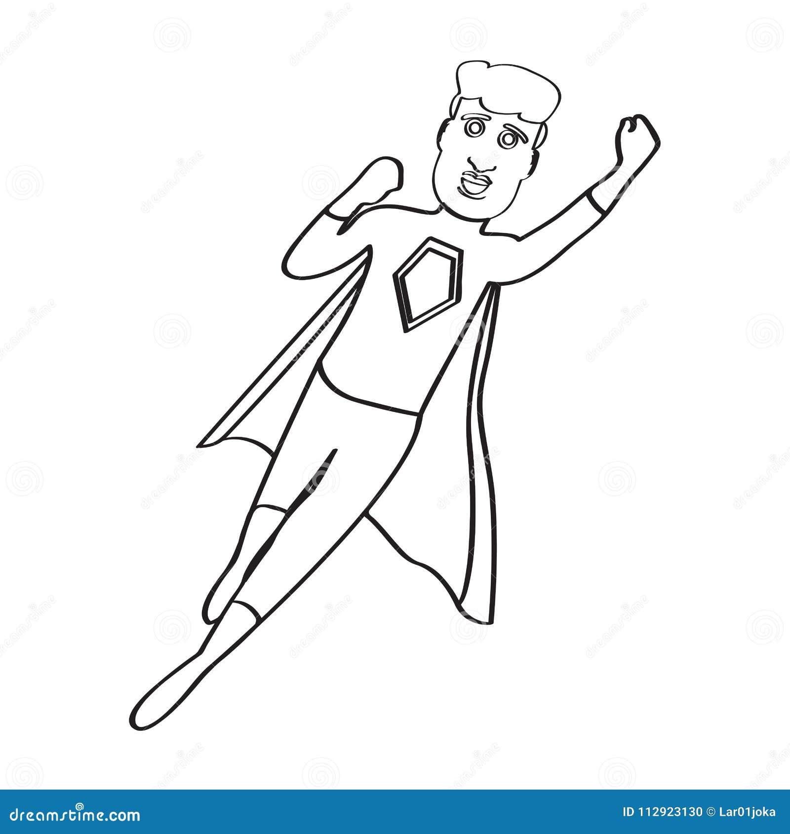 Male superhero cartoon character sketch